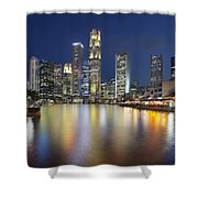 Singapore Skyline By Boat Quay Vertical Shower Curtain