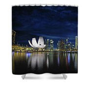 Singapore Skyline By River Waterfront At Dusk Shower Curtain