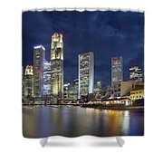 Singapore Skyline From Boat Quay Shower Curtain
