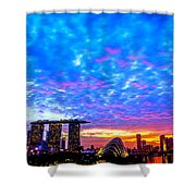 Singapore Skyline Shower Curtain