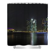 Singapore Skyline With Laser Light Show Shower Curtain