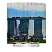 Singapore Skyline With Marina Bay Sands And Gardens By The Bay Supertrees Shower Curtain