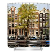 Singel Canal Houses In Amsterdam Shower Curtain
