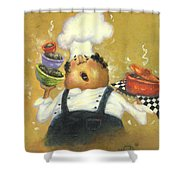 Singing Chef In Gold Shower Curtain