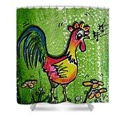 Singing Chicken  Shower Curtain