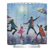Singing In The Rain Super Hero Kids Shower Curtain