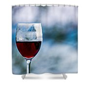 Single Glass Of Red Wine On Blue And White Background Shower Curtain
