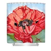 Single Oriential Poppy Shower Curtain