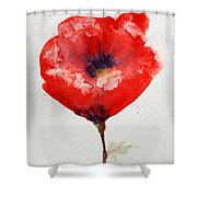 Single Red Anemone Shower Curtain