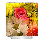 Single Rose Bouquet Shower Curtain