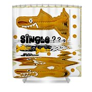 Single Shark Pop Art Shower Curtain by Pepita Selles