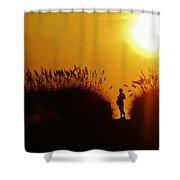 Single Woman Dunes Surise Shower Curtain