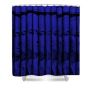 Singles In Blue Shower Curtain