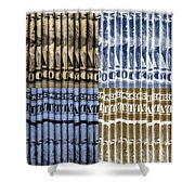 Singles In Gold And Blue Shower Curtain