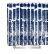 Singles In Negative Blue Shower Curtain