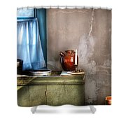 Sink - The Jug And The Window Shower Curtain by Mike Savad