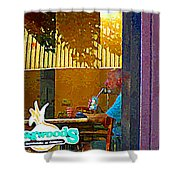 Sipping A Seven Up At Dagwoods Window Seat At The Sandwich Shop Montreal Summer Scene Carole Spandau Shower Curtain