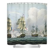 Sir Richard Strachans Action After The Battle Of Trafalgar Shower Curtain by Thomas Whitcombe
