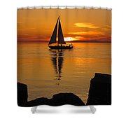 Sister Bay Sunset Sail 2 Shower Curtain