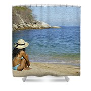 Sitting At The Beach Shower Curtain