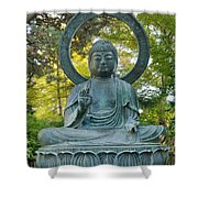 Sitting Bronze Buddha At San Francisco Japanese Garden Shower Curtain