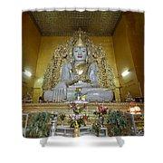 sitting Buddha made from one single marble block in KYAUKTAWGYI PAGODA Shower Curtain