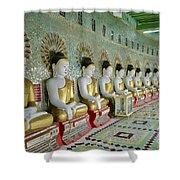 sitting Buddhas in Umin Thonze Pagoda Shower Curtain