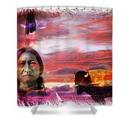 Sitting Bull Shower Curtain by Mal Bray