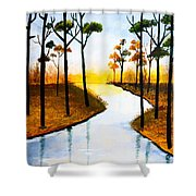 Sitting By The Lake Shower Curtain