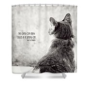 Sitting Cat Shower Curtain