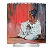 Sitting Lady In White Next To A Red Wall Shower Curtain