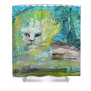 Sitting Lion Oil Portrait Shower Curtain