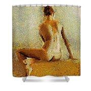 Sitting Nude II Shower Curtain