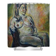 Sitting Nude Shower Curtain