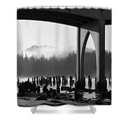 Siuslaw River Bridge Florence Oregon Black And White Shower Curtain