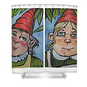 Six Gnomes Horizontal Shower Curtain