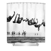 Six Men Doing Beach Flips Shower Curtain