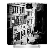 Six O'clock On The Street - Black And White Shower Curtain