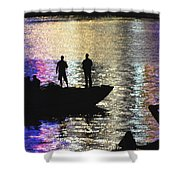 Six On A Boat Shower Curtain