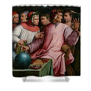 Six Tuscan Poets Shower Curtain by Giorgio Vasari