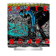 Skate Board Hi Low Red Letters Shower Curtain
