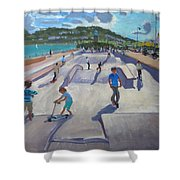 Skateboaders  Teignmouth Shower Curtain by Andrew Macara