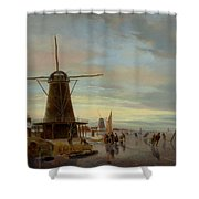 Skaters On A Frozen Waterway Shower Curtain