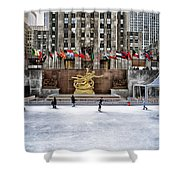 Skating At Rockefeller Plaza Shower Curtain