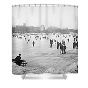 Skating In Central Park Shower Curtain by Anonymous