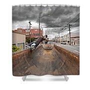Dump Truck Skateboarding In Balboa Street Shower Curtain