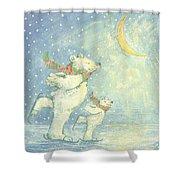 Skating Polar Bears Shower Curtain