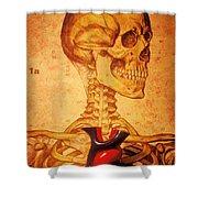 Skeleton And Heart Model Shower Curtain