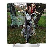 Skeleton Biker On Motorcycle  Shower Curtain