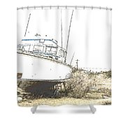 Skeleton Boat Shower Curtain